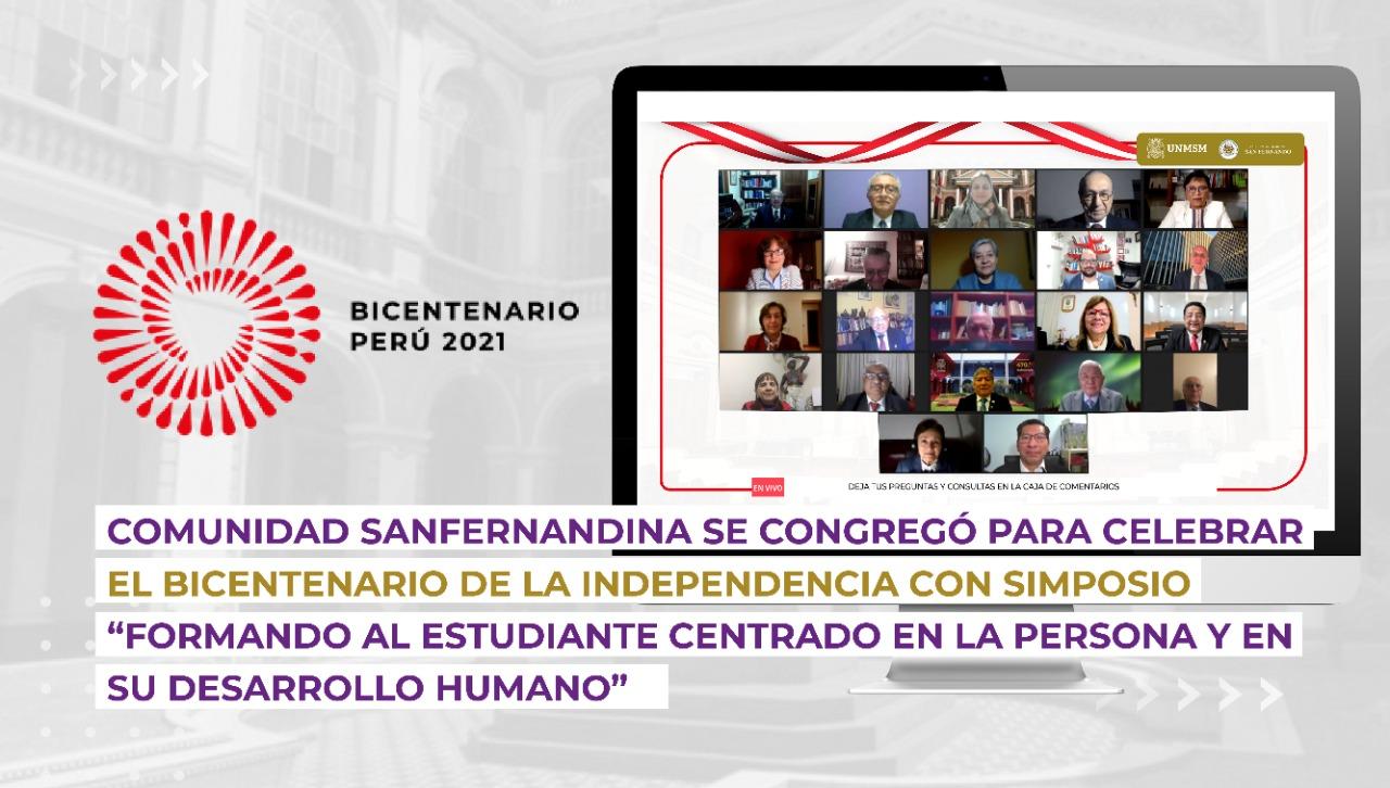 """Comunidad sanfernandina se congregó para celebrar el Bicentenario de la Independencia con el simposio """"Formando al estudiante centrado en la persona y en su desarrollo humano"""""""
