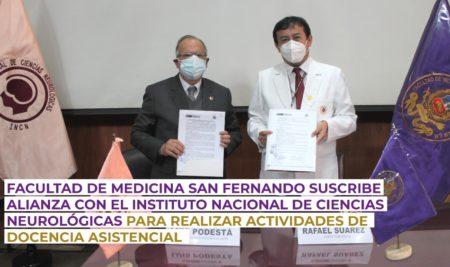 Facultad de Medicina San Fernando suscribe alianza con el Instituto Nacional de Ciencias Neurológicas para implementar actividades docente-asistenciales